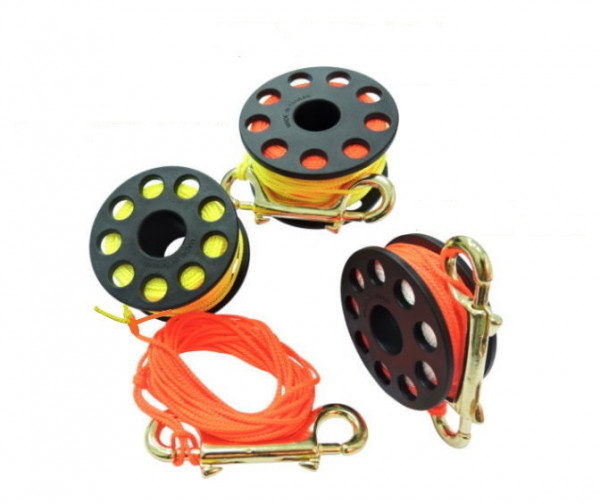 100' Total Line Length Finger Spool w/ Brass clip & High Viz Yellow Leader Line - Product Image