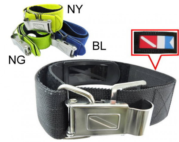 Quick Release Stainless Steel Cam Strap in Neon Yellow Webbing - Product Image