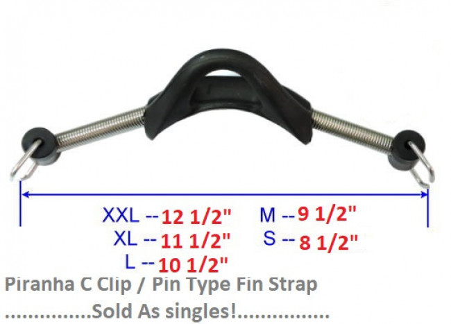 "Piranha Dive Pin Type Fin Strap   Medium Size / Black Rubber Heel!    ""Sold as SINGLES"" - Product Image"