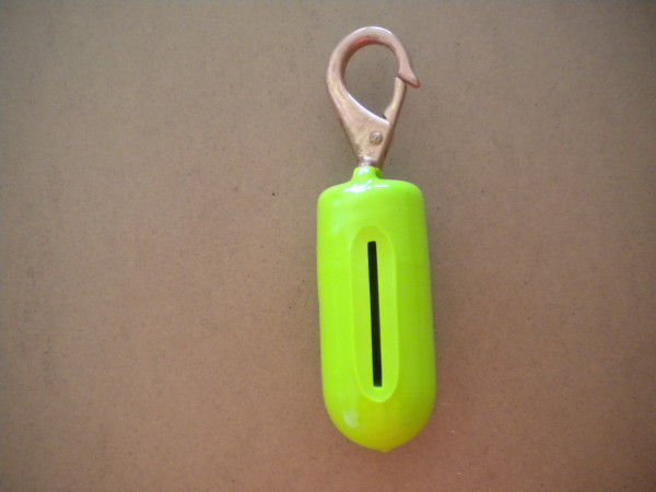 "2lb Drop Weight w/ Brass Clip ""Neon Green Outer Coating Color""  - Product Image"