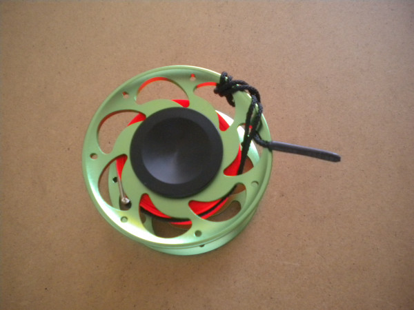 New! 100 Foot Compact Flat Line Finger Spool w/ Internal Spinner / High Viz Orange line / Green Body - Product Image
