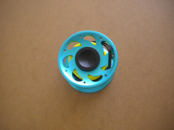 New! 50 Foot Compact Flat Line Finger Spool w/ Internal Spinner / High Viz Yellow line / Aqua-Blue Body - Product Image