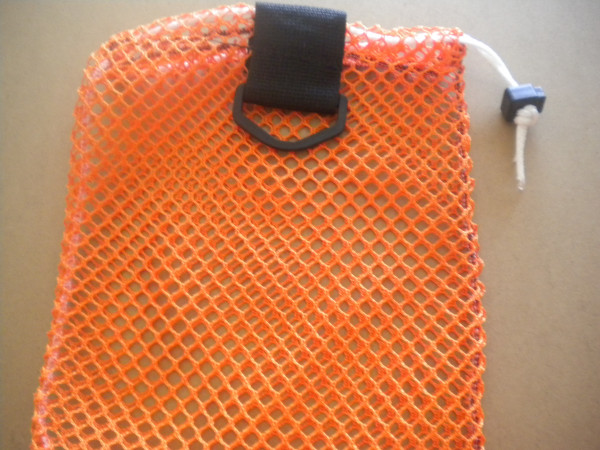 "New Color! Mini Drawstring Mesh Bag W/ Black Plastic D-Ring ""Orange"" - Product Image"