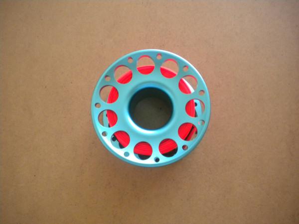 New Special!! 100ft Anodized Aqua-Blue Aluminum Body W/ FLAT High Viz Neon Orange LINE & SS Swivel - Product Image