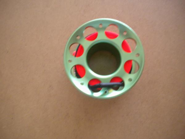 New Special!! 100ft Anodized Green Aluminum Body W/ FLAT High Viz Neon Orange LINE & SS Swivel - Product Image