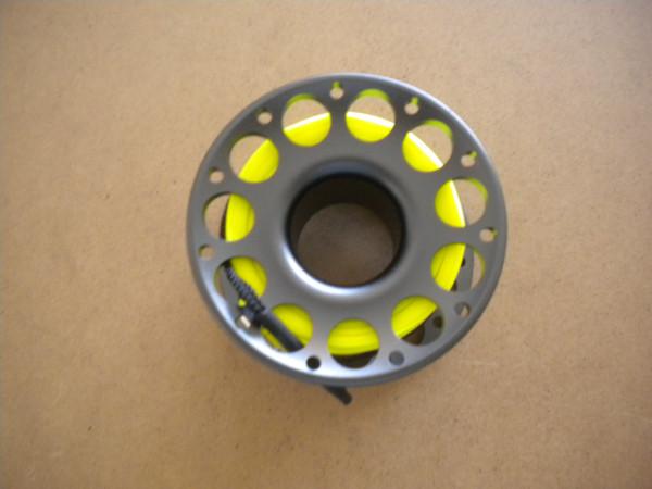 1 left! 100ft Anodized Grey Aluminum Body W/ FLAT High Viz Neon YELLOW LINE & SS Swivel - Product Image