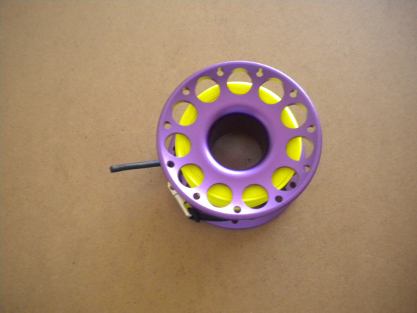 New Special!! 100ft Anodized PURPLE Aluminum W/ FLAT High Viz Neon YELLOW LINE & SS Swivel - Product Image