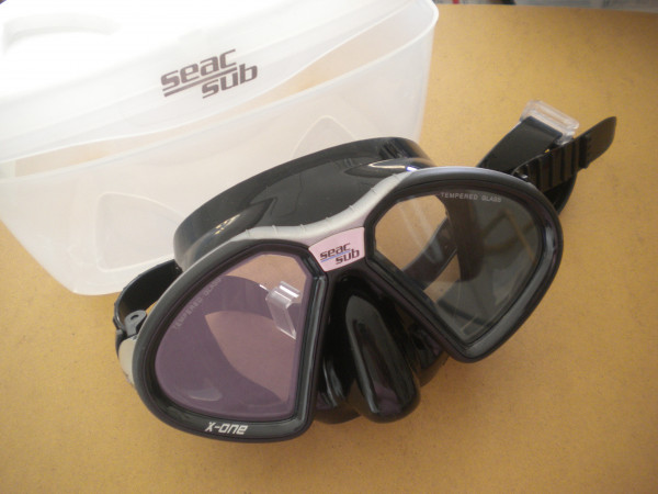 Seac Sub X-One Mask Black frame- Silver Trim / Black Skirt w/ plastic mask box! - Product Image